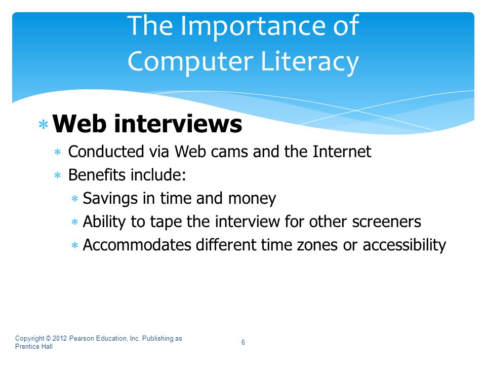 importance of computer literacy Computer literacy is having up to date knowledge of computers and their capabilities one of the more popular aspects of the computer is the use of the internet the internet is a worldwide collection of networks that links millions of businesses, government agencies, educational institutions, and individuals.