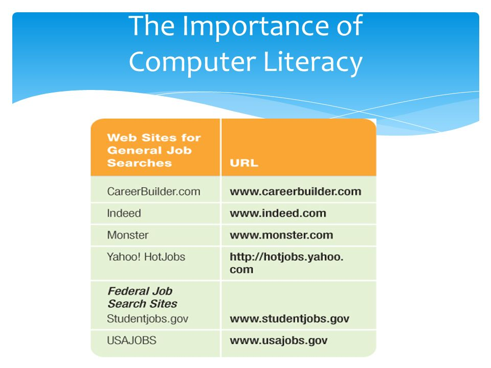 the importance of computer literacy Use of e-resources by the postgraduates' and therefore, computer literacy  programme  previous studies have shown that computer literacy is an  important.
