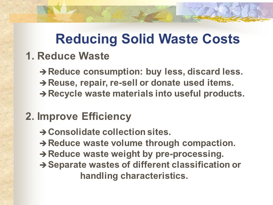Solid waste coordinator mailto ppt video online download for Waste things into useful things