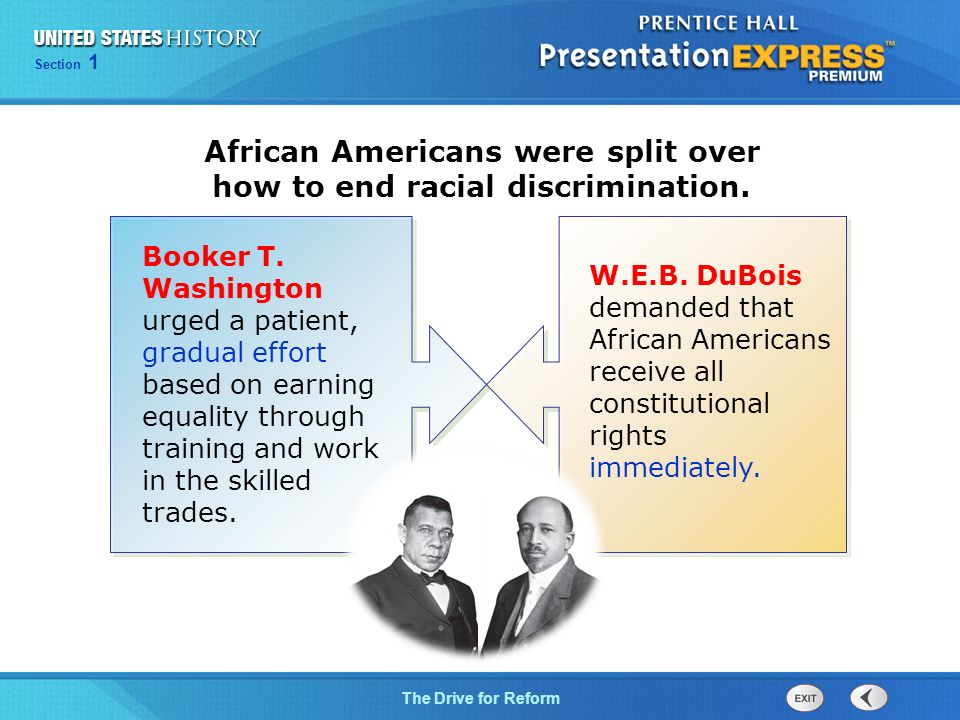 a comparison of booker t washington and web dubois in their struggle for racial equality Ida b wells-barnett and her passion for justice lee d baker  ida b wells-barnett was a fearless anti-lynching crusader, suffragist.