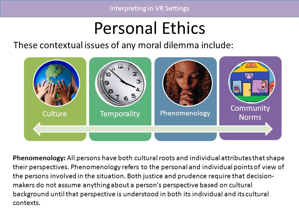 personal ethics perspective Free essay: personal values and ethic standards values and ethics are one of the most important characteristic of an individual they basically define who we.