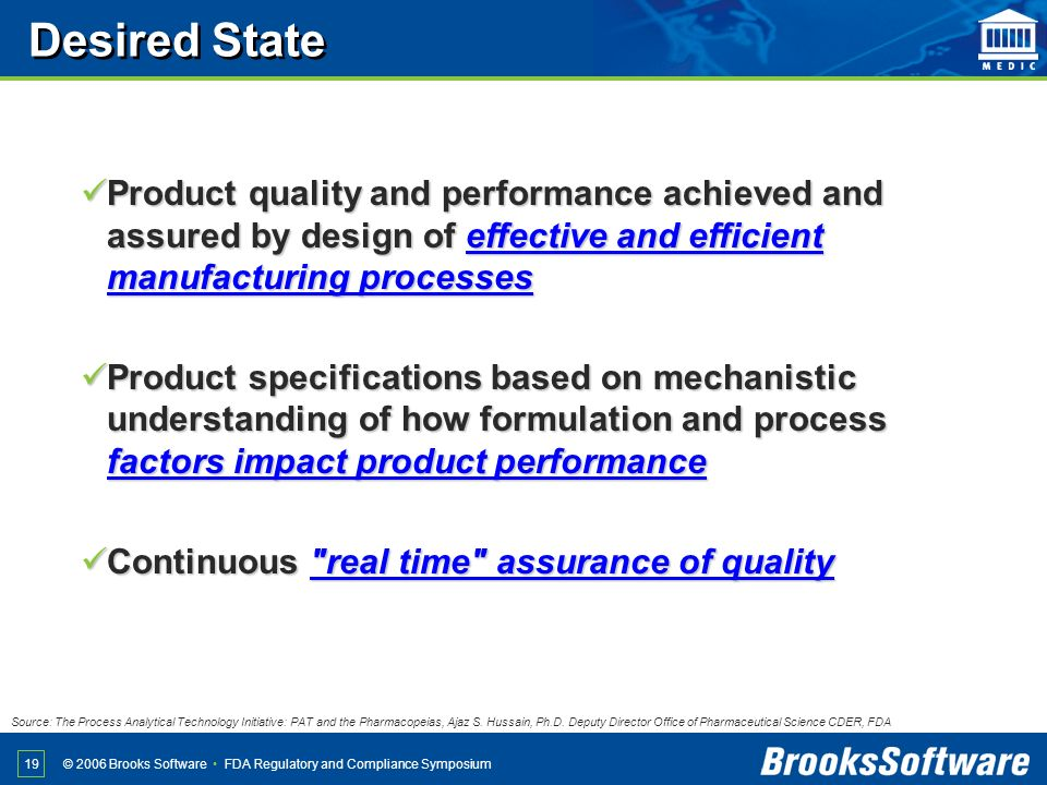 Desired State Product quality and performance achieved and assured by design of effective and efficient manufacturing processes.