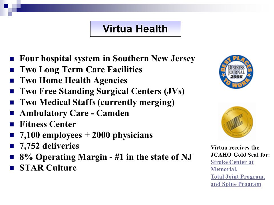 Virtua Health Four hospital system in Southern New Jersey