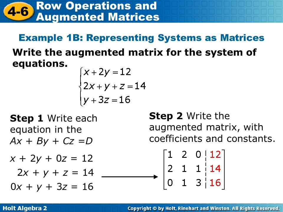 writing a system of equations as a matrix organization