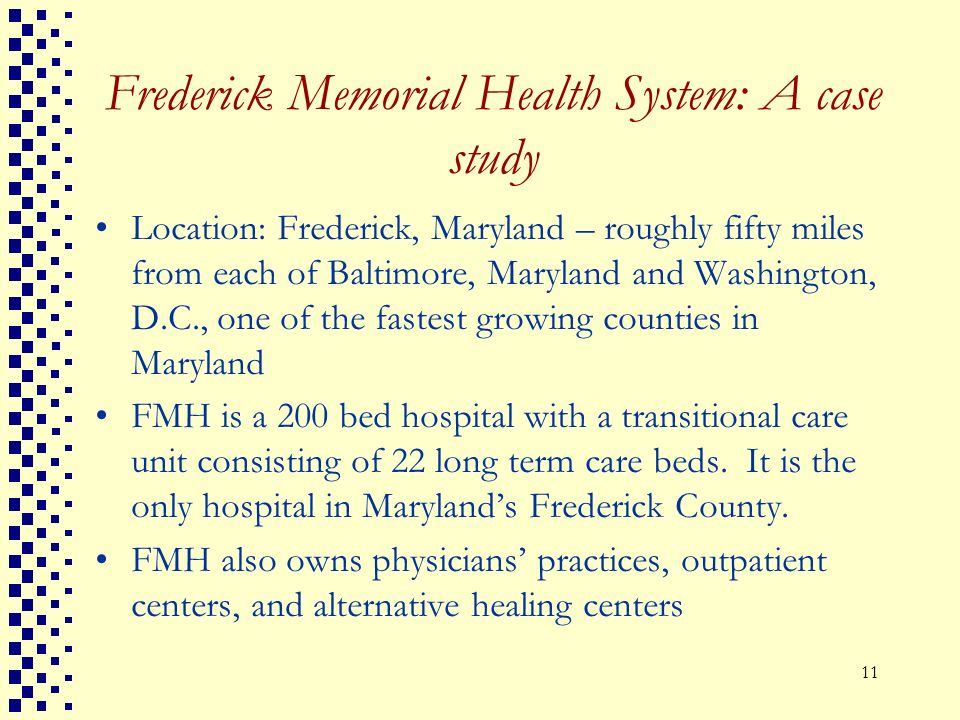 Frederick Memorial Health System: A case study
