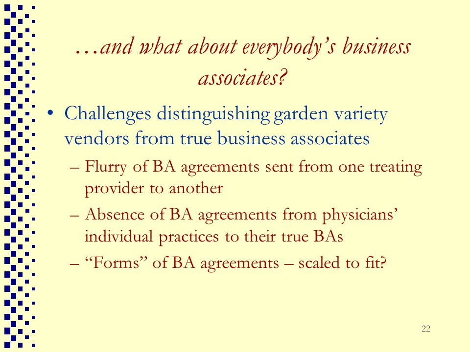 …and what about everybody's business associates