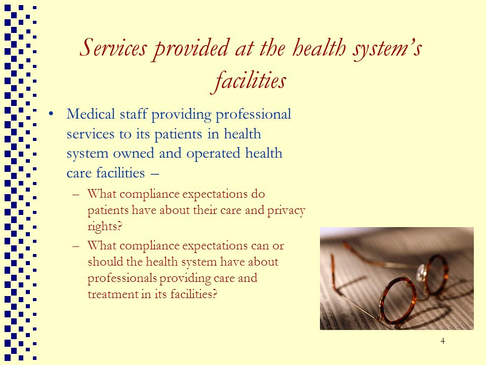 Services provided at the health system's facilities