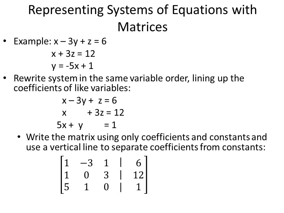Linear Systems Two or more unknown quantities that are ...