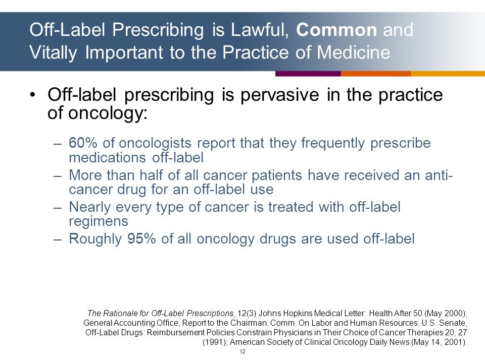 Off-label prescribing is pervasive in the practice of oncology:
