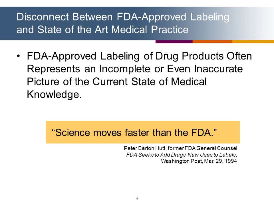 Disconnect Between FDA-Approved Labeling and State of the Art Medical Practice