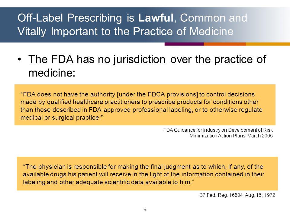 The FDA has no jurisdiction over the practice of medicine: