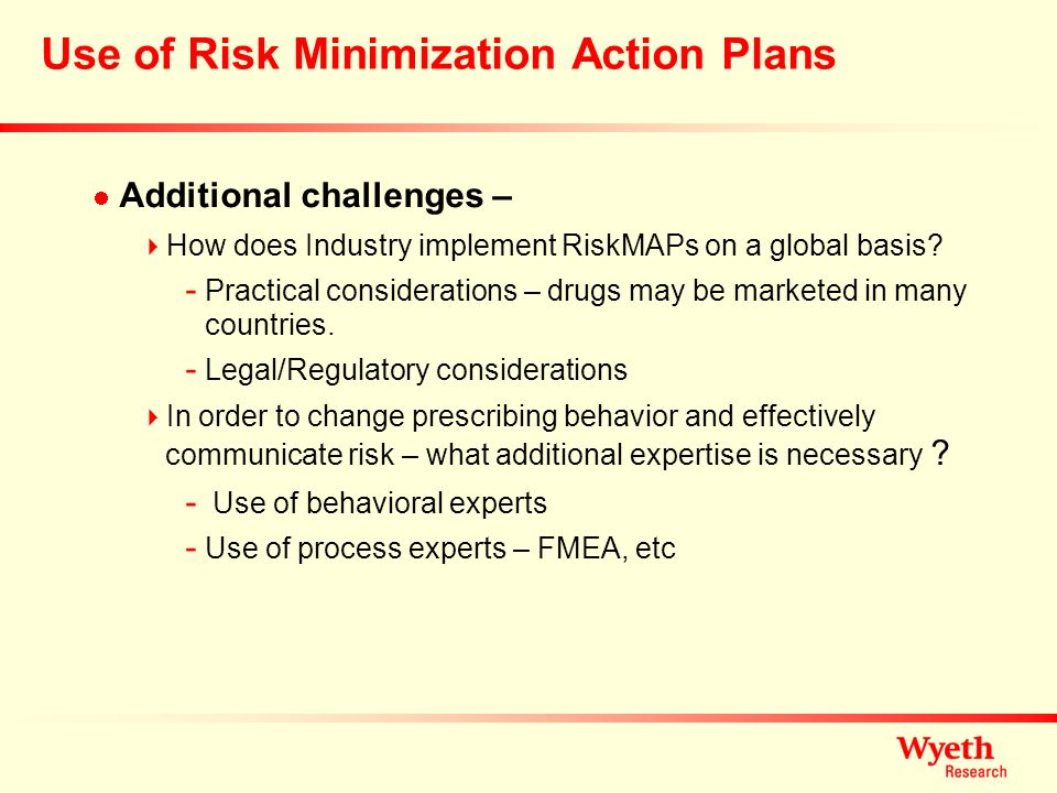 Use of Risk Minimization Action Plans
