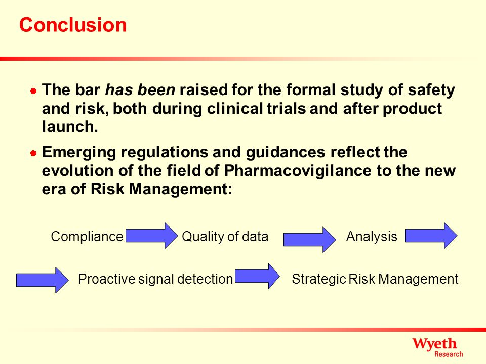 Conclusion The bar has been raised for the formal study of safety and risk, both during clinical trials and after product launch.
