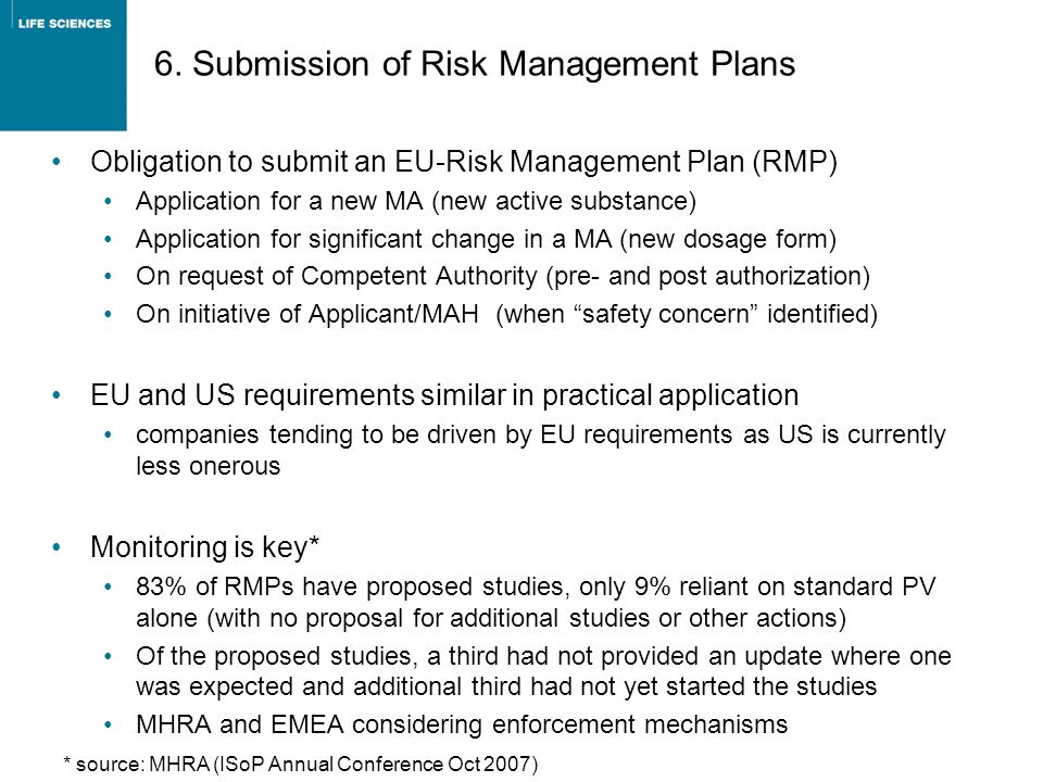 6. Submission of Risk Management Plans