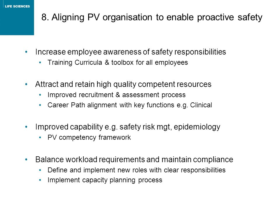 8. Aligning PV organisation to enable proactive safety