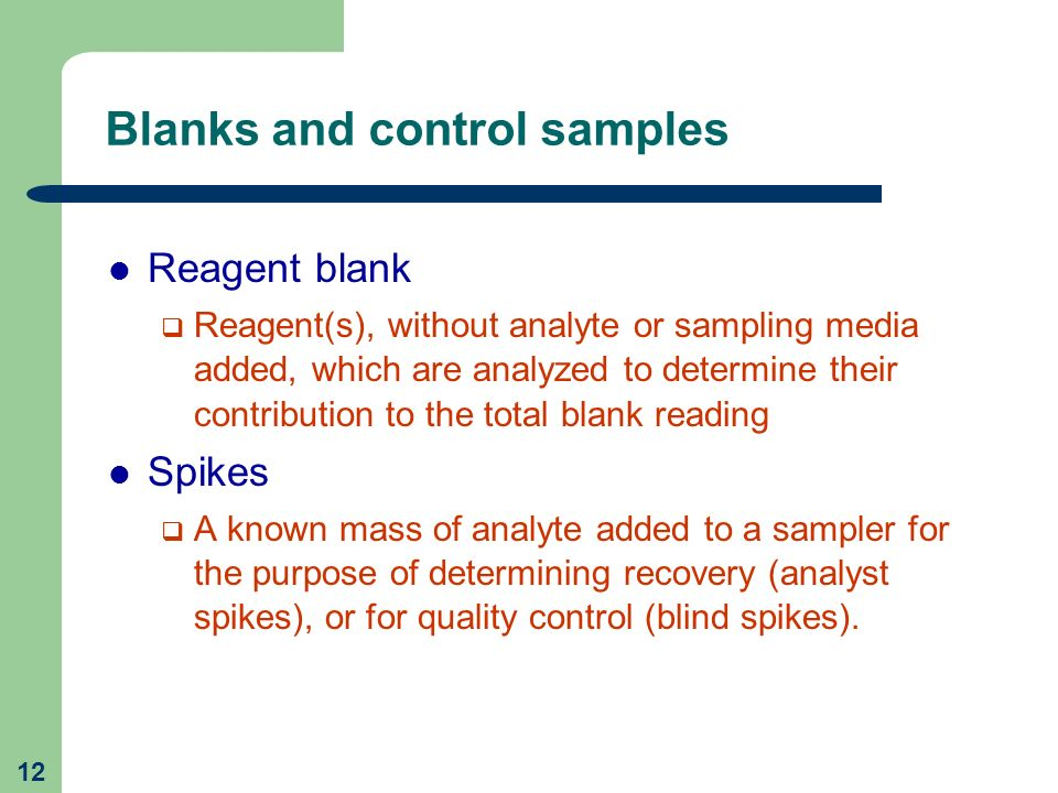 Blanks and control samples