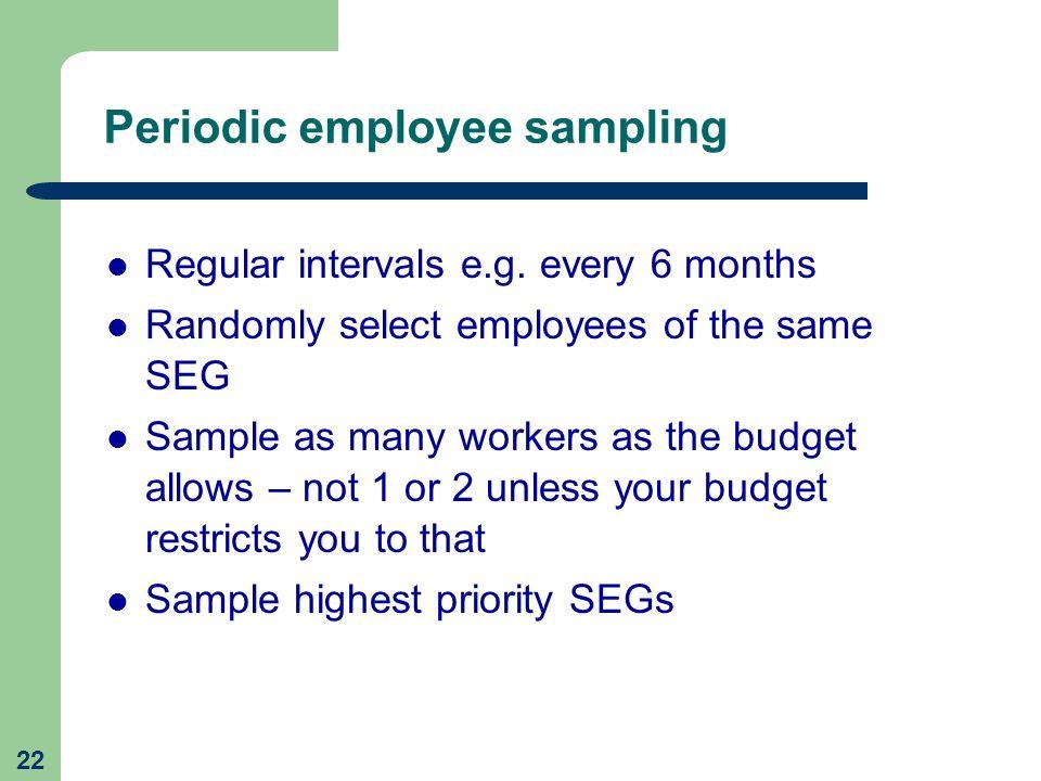 Periodic employee sampling