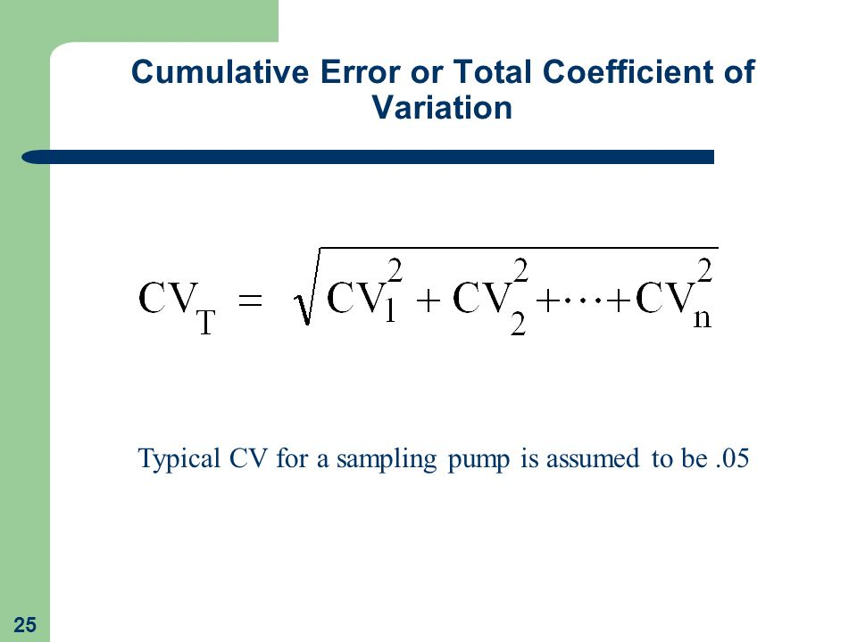 Cumulative Error or Total Coefficient of Variation