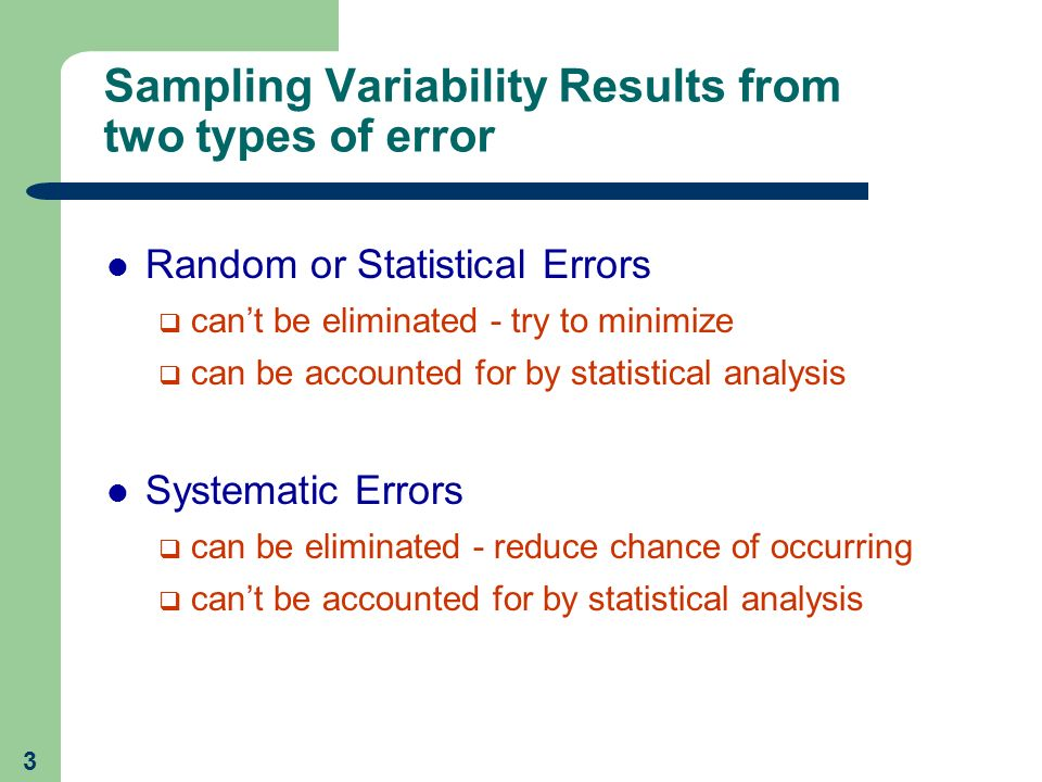 Sampling Variability Results from two types of error