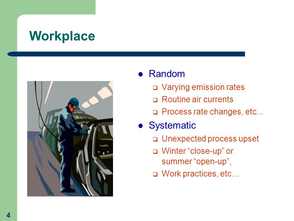 Workplace Random Systematic Varying emission rates