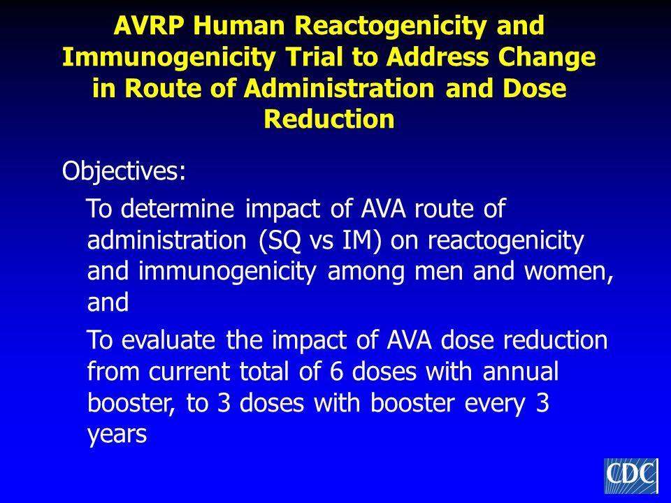 AVRP Human Reactogenicity and Immunogenicity Trial to Address Change in Route of Administration and Dose Reduction
