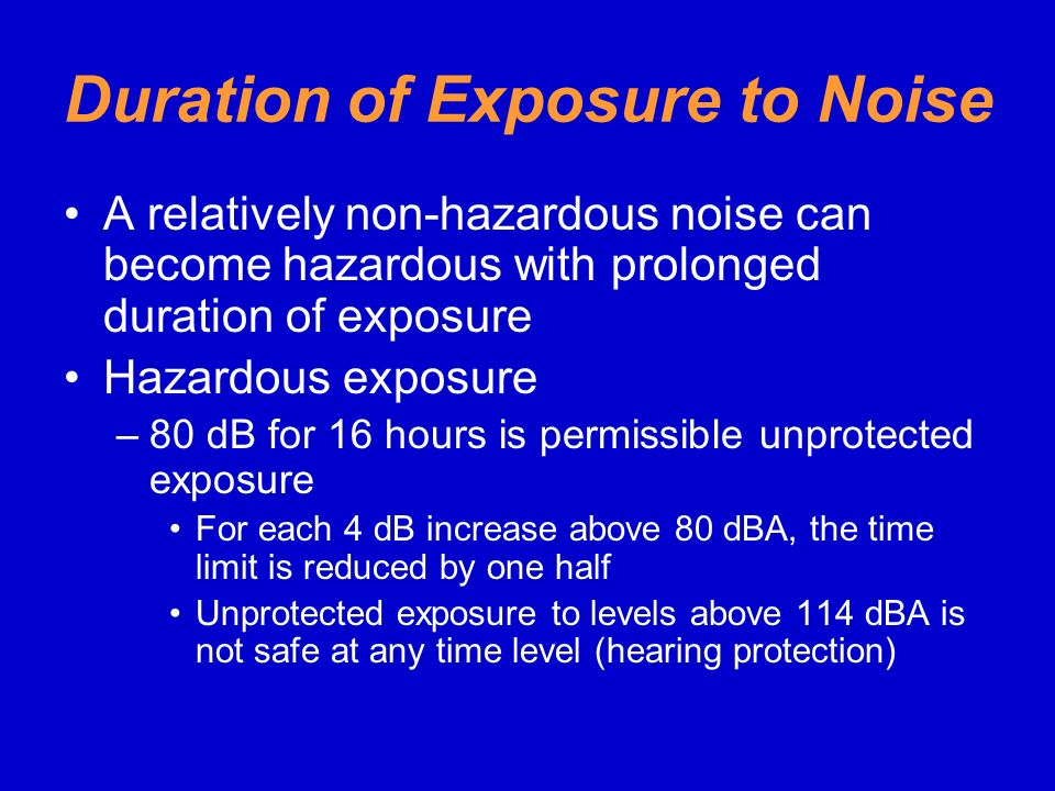Duration of Exposure to Noise