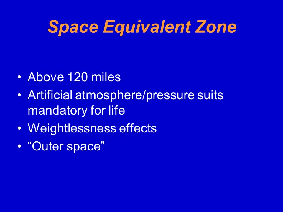 Space Equivalent Zone Above 120 miles