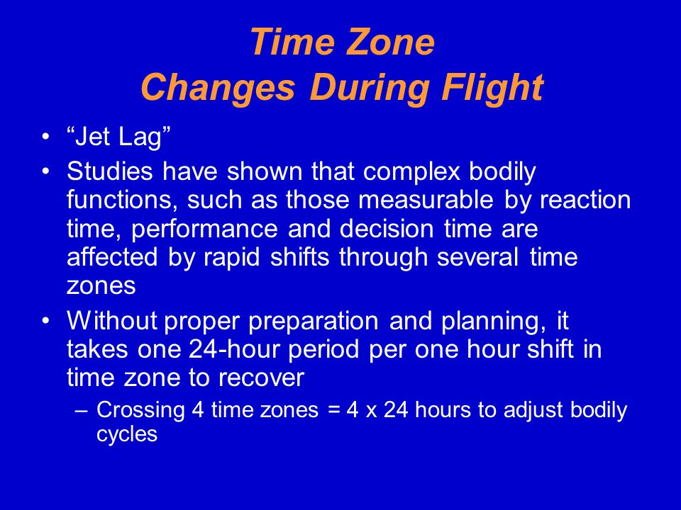 Time Zone Changes During Flight