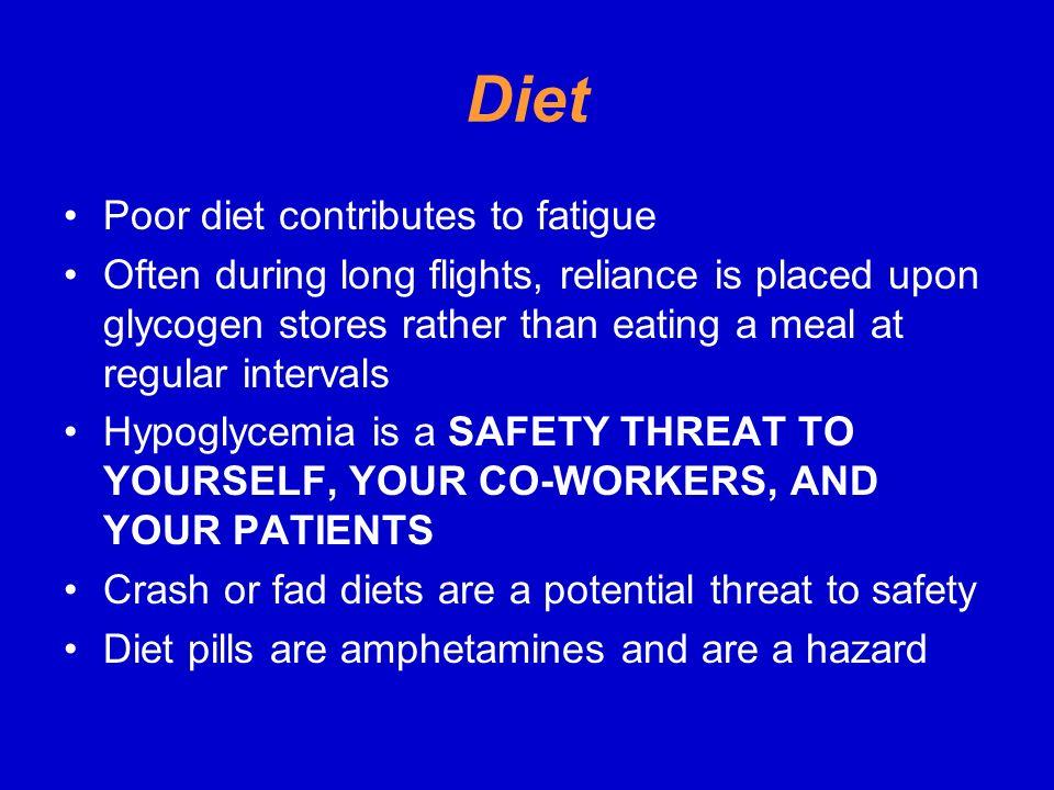 Diet Poor diet contributes to fatigue