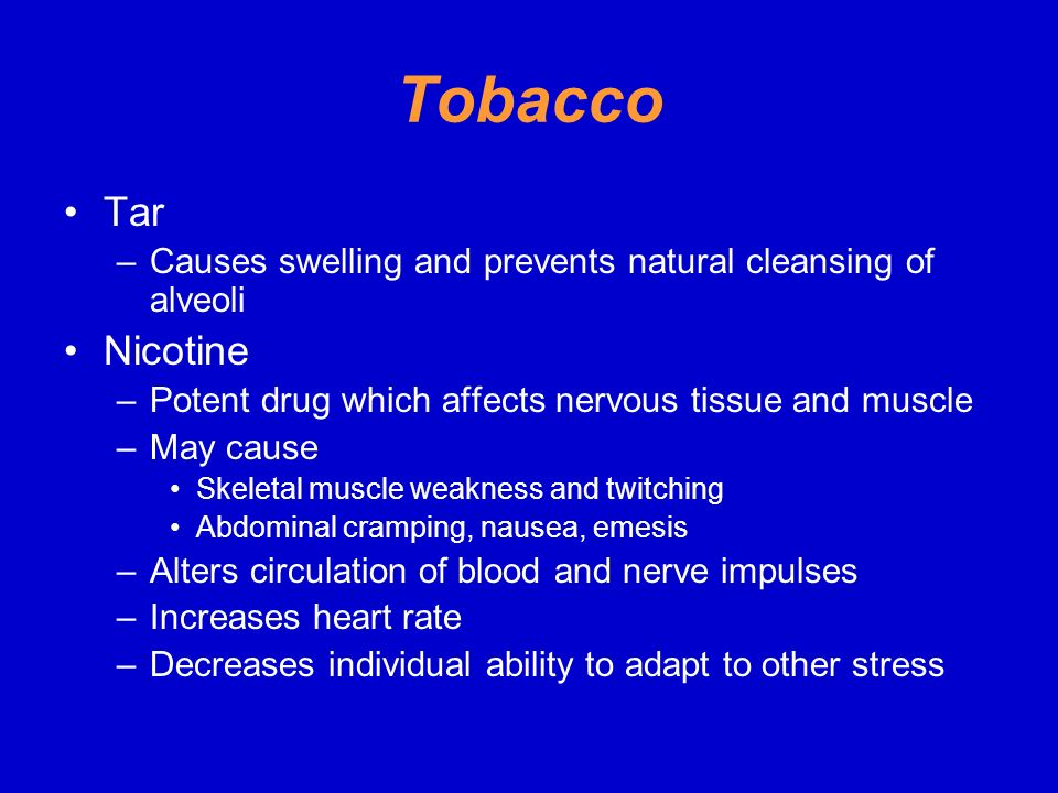 Tobacco Tar. Causes swelling and prevents natural cleansing of alveoli. Nicotine. Potent drug which affects nervous tissue and muscle.
