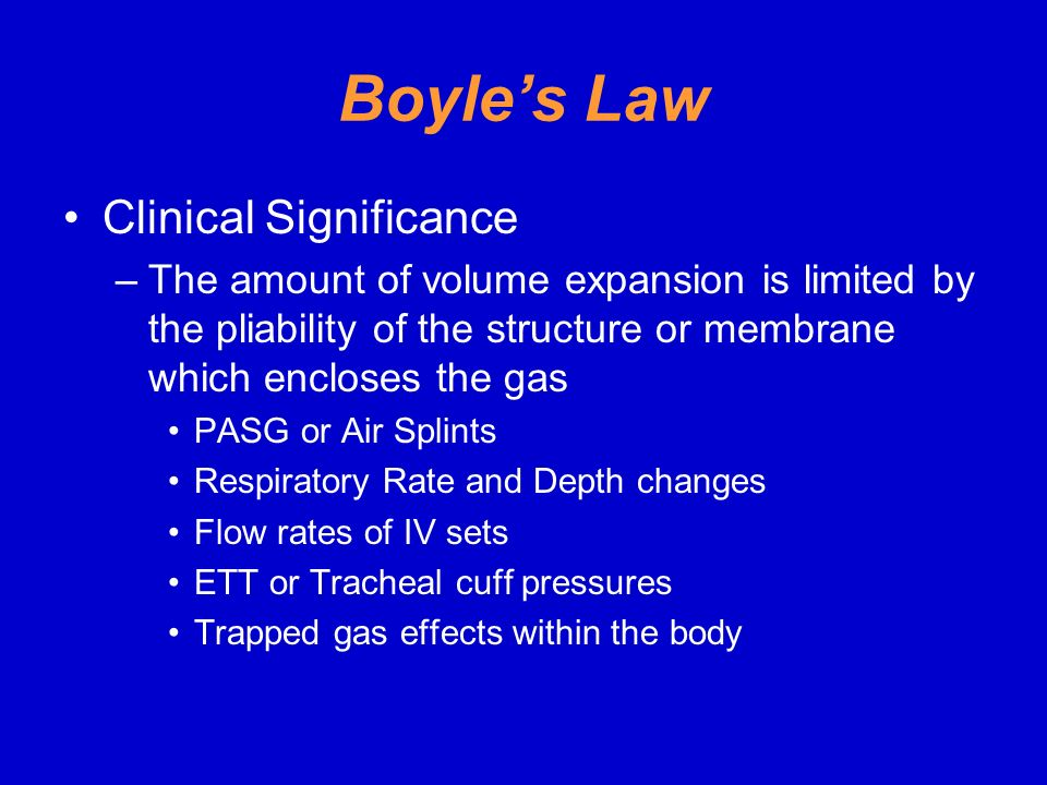 Boyle's Law Clinical Significance