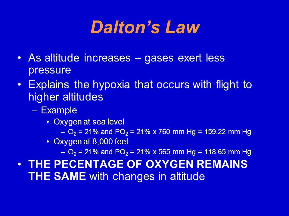 Dalton's Law As altitude increases – gases exert less pressure