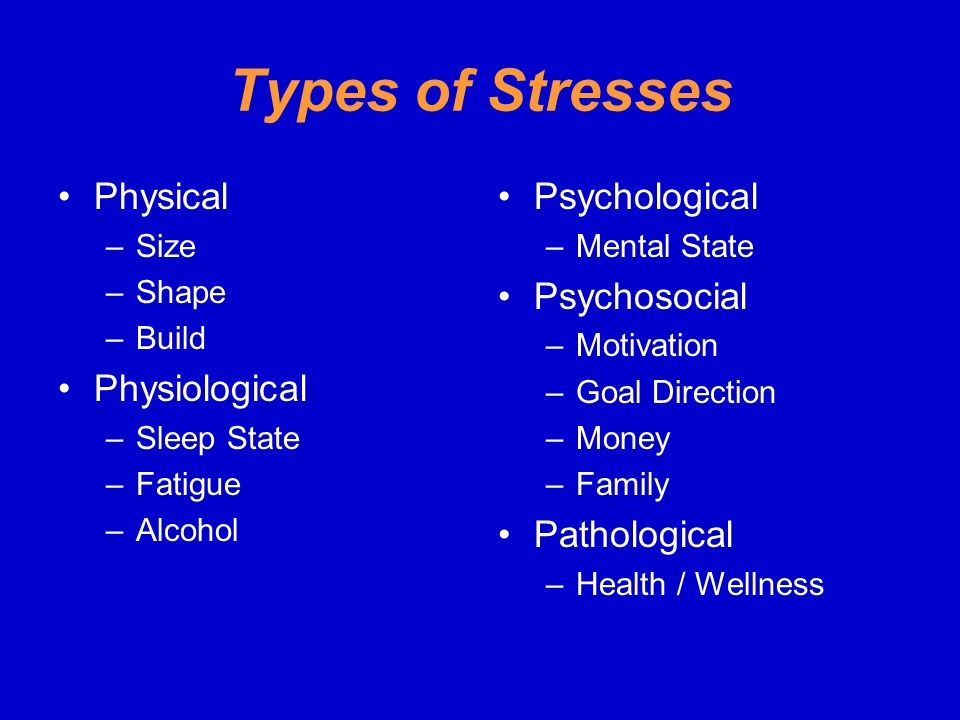 Types of Stresses Physical Physiological Psychological Psychosocial