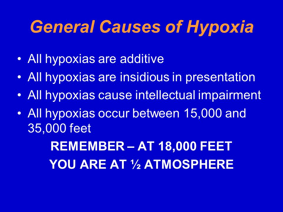 General Causes of Hypoxia
