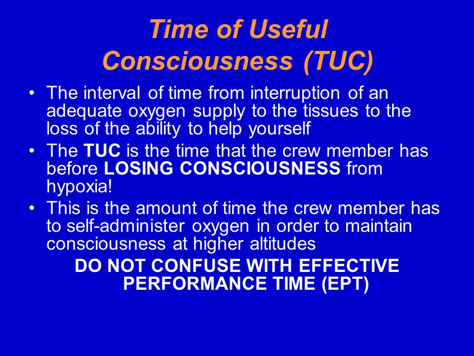 Time of Useful Consciousness (TUC)