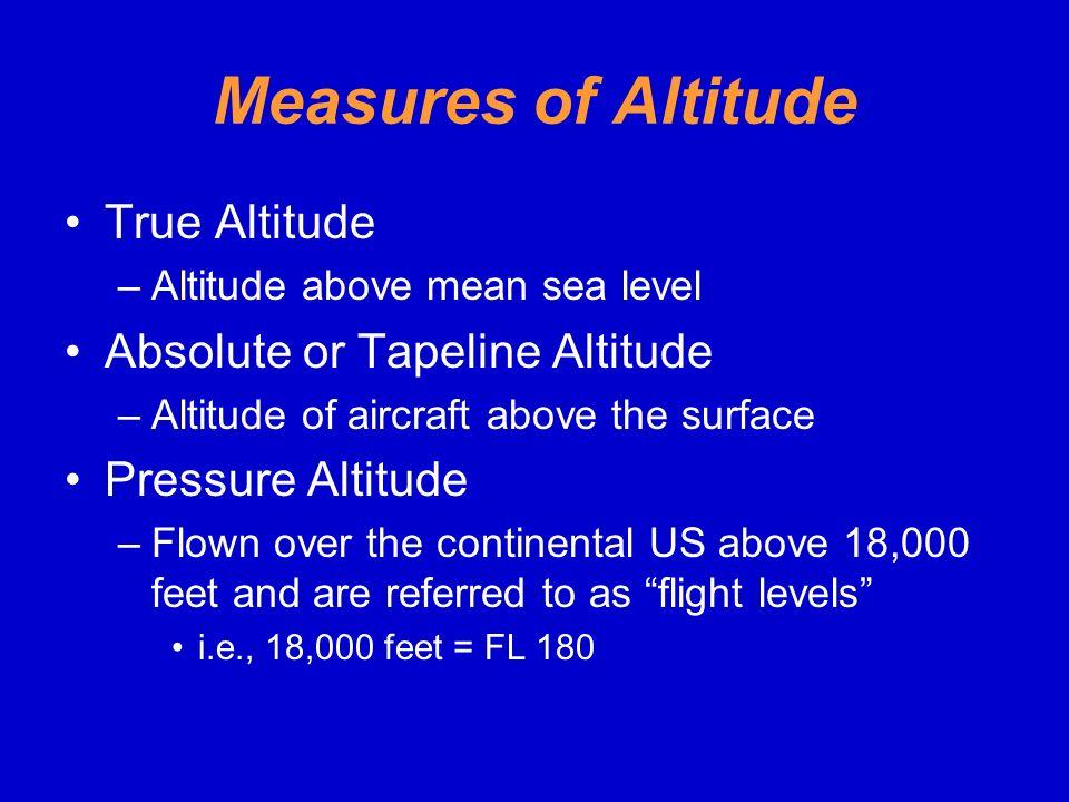 Measures of Altitude True Altitude Absolute or Tapeline Altitude