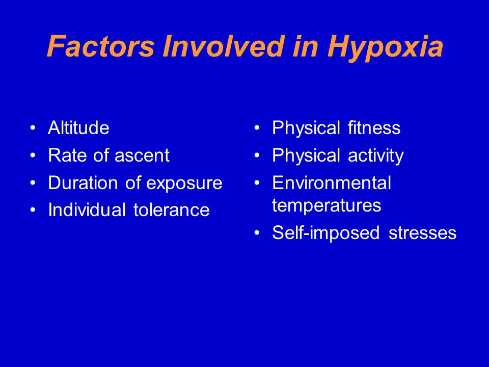 Factors Involved in Hypoxia
