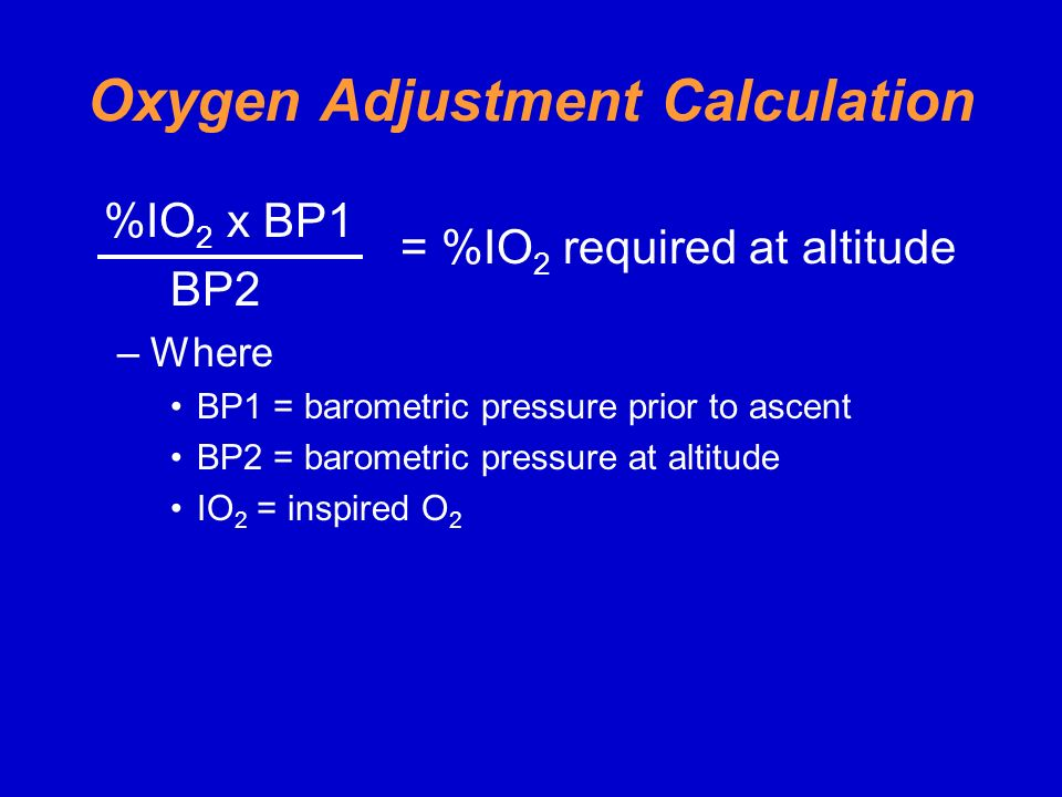 Oxygen Adjustment Calculation