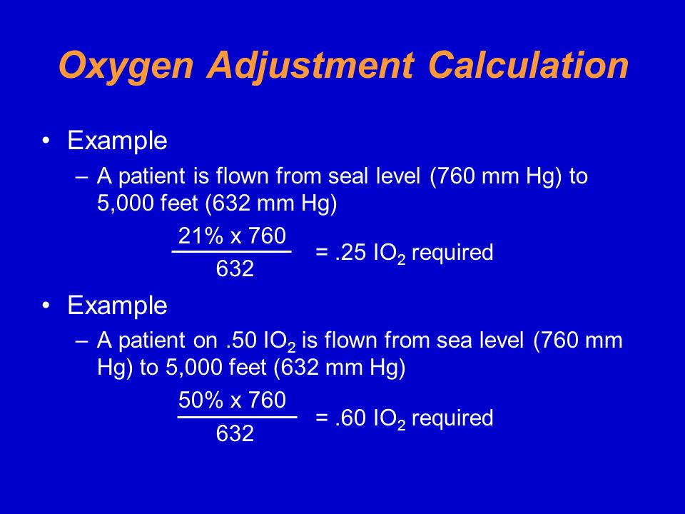 Oxygen Adjustment Calculation