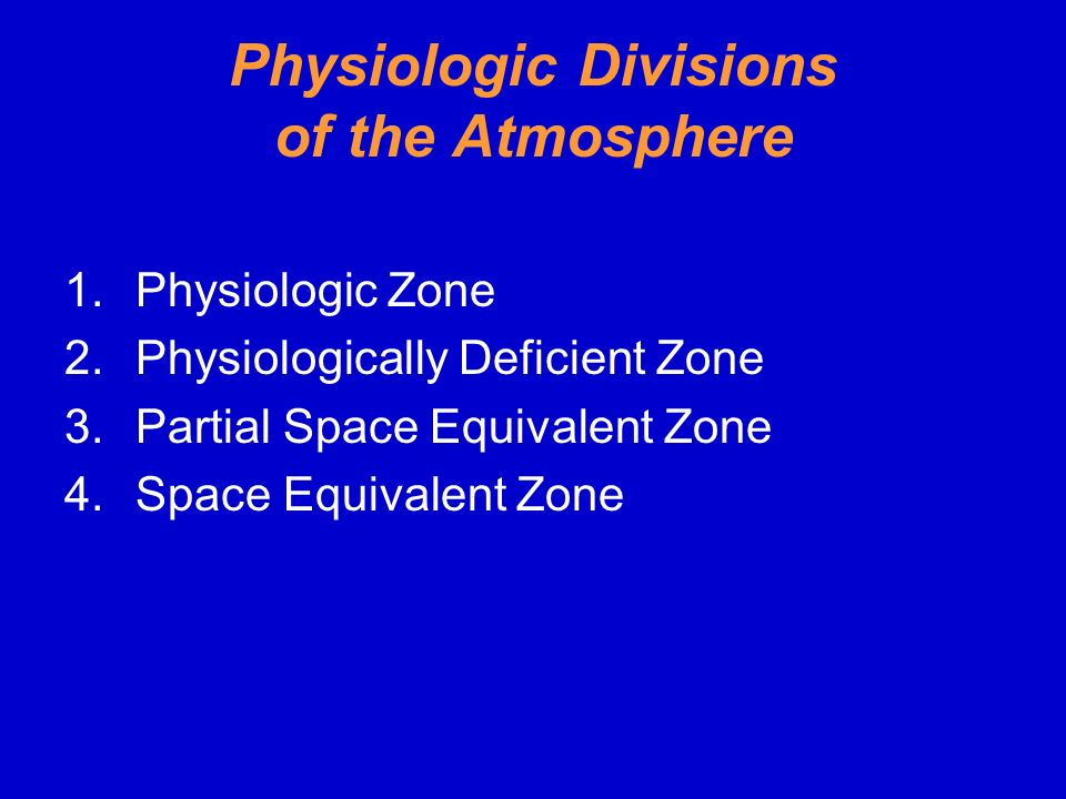 Physiologic Divisions of the Atmosphere
