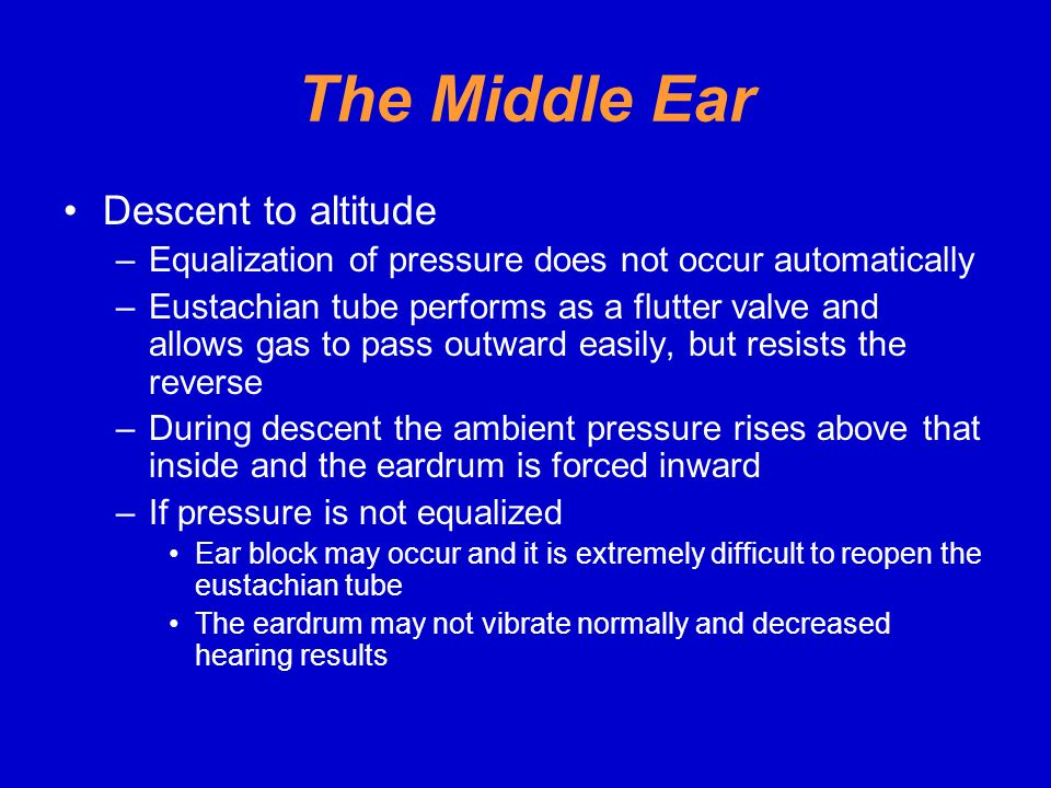 The Middle Ear Descent to altitude