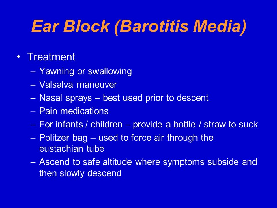 Ear Block (Barotitis Media)