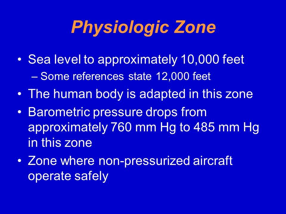 Physiologic Zone Sea level to approximately 10,000 feet