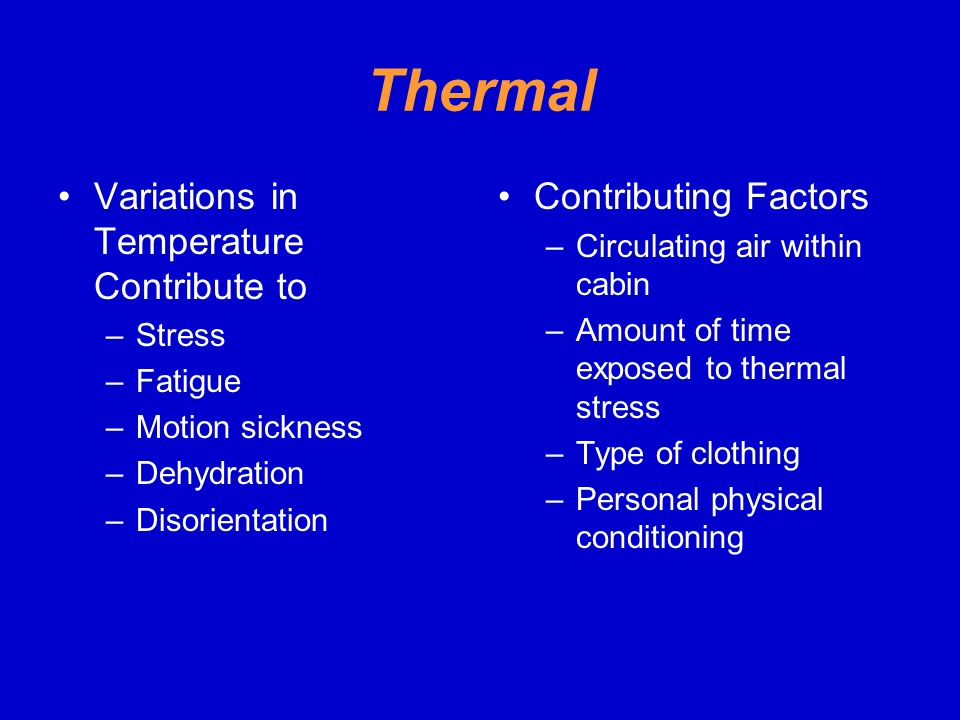 Thermal Variations in Temperature Contribute to Contributing Factors