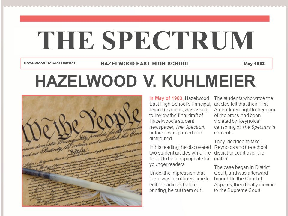 Hazelwood College Section versus. Kuhlmeier Claim Transient