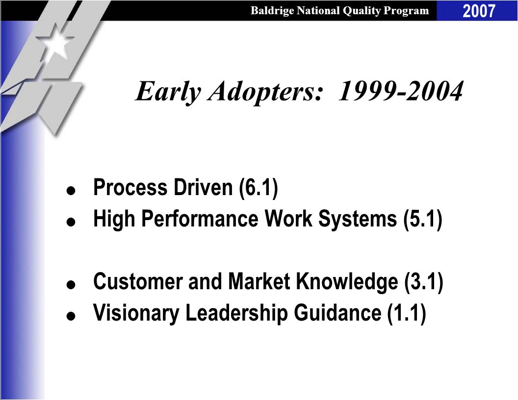 Early Adopters: 1999-2004 Process Driven (6.1)