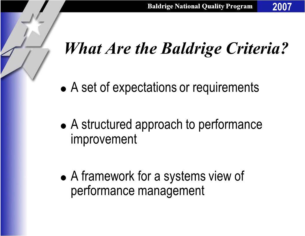 What Are the Baldrige Criteria