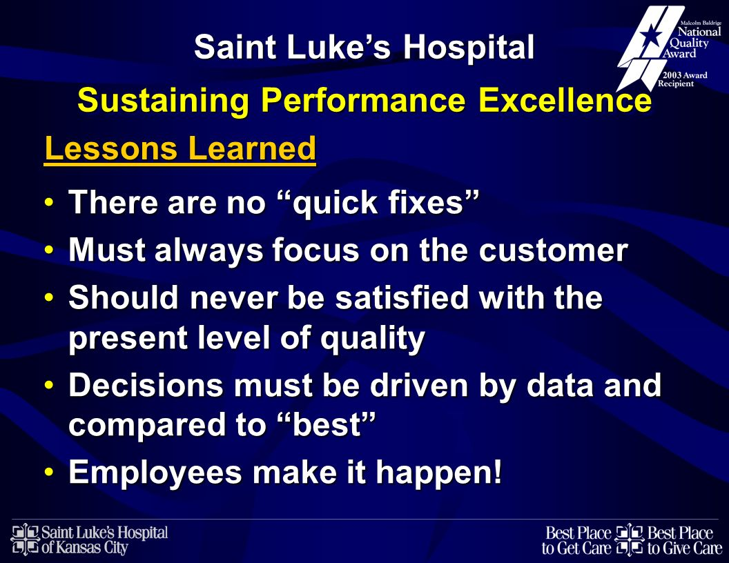 Saint Luke's Hospital Sustaining Performance Excellence