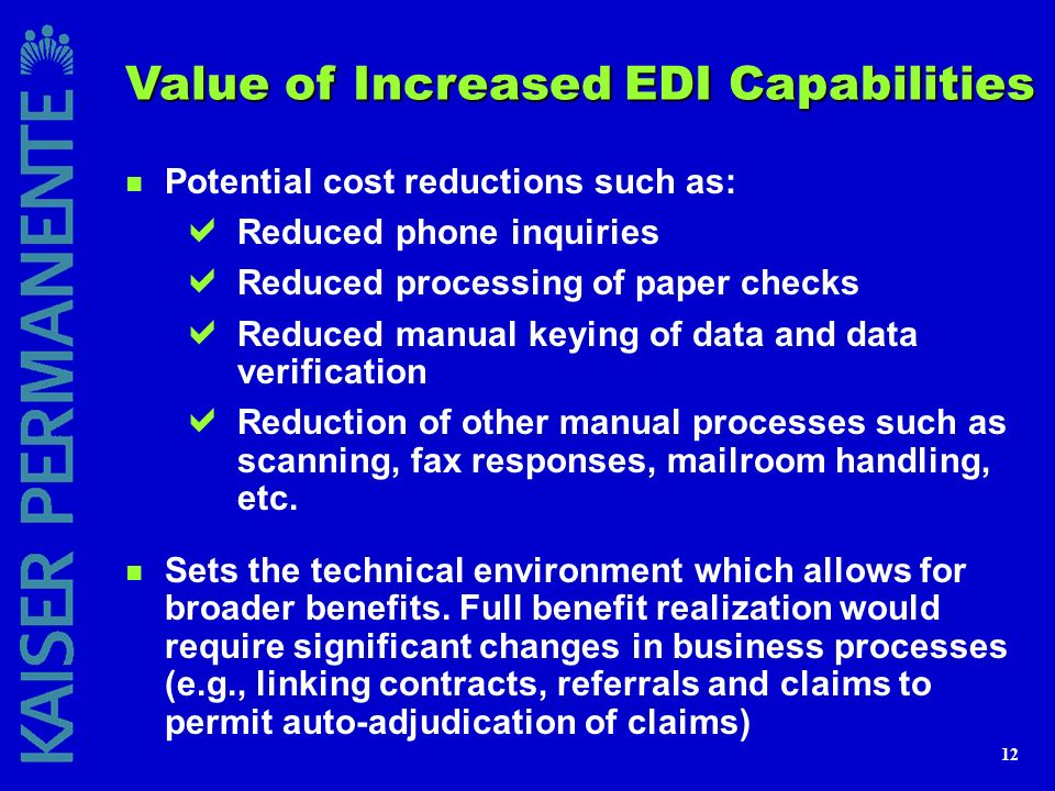 Value of Increased EDI Capabilities