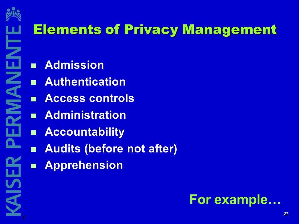 Elements of Privacy Management